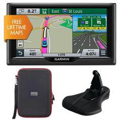 "Garmin nuvi 67LM 6"" 010-01399-01 Essential Series 2015 GPS w Lifetime Maps Portable Friction Mount and PocketPro XL Hardshell Case Bundle"