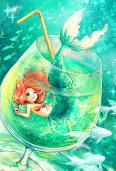 Disney princess fanart - ariel - the little mermaid Disney Kunst, Arte Disney, Disney Art, Disney Anime Style, Anime Mermaid, Mermaid Art, Mermaid Names, Mermaid Glass, Baby Mermaid