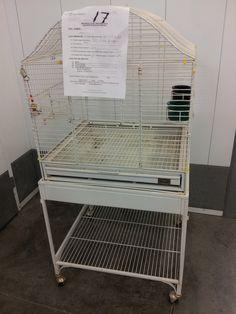 """Cage #17 - UNAVAILABLE - 22""""x24""""x26"""" inside, B/S ¾""""; 50' to top of the cage, thick bars, can be used table top or on its stand, white. Used by Zoe Swanson for TH conure fro June 14, 2015."""