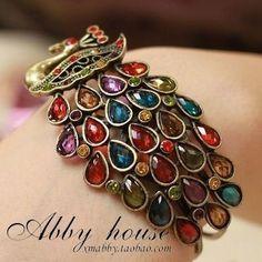 jewel toned peacock bracelet