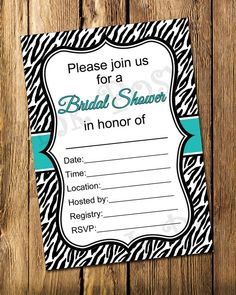 Printable Turquoise Zebra Bridal Shower Fill In Invitation - Instant Download