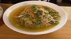 Chicken and wakame soup with buckwheat noodles recipe