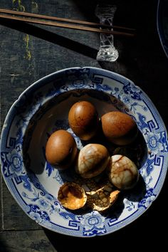 Recipe for Tea Eggs - Boiled and then slow-cooked in a mixture of tea, star anise, soya sauce, and cinnamon.