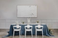 La Tavola Fine Linen Rental: Tuscany Wedgwood with Aurora White Table Runner and Velvet Ivory Napkins | Photography: Jessica Jaccarino Photography, Planning & Styling: Laurel Street Events, Florals: Not Just In Novels, Venue: The Harper, Paper Goods: Acqua and Ink, Tabletop & Rentals: Catalog Atelier