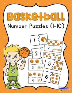 Use these free printable basketball number puzzles with your child to practice counting and numeral/number word recognition. Sports Activities For Kids, Math For Kids, Kindergarten Activities, Fun Printables For Kids, Free Printables, Basketball Books, Number Puzzles, Number Words, Homeschool Math