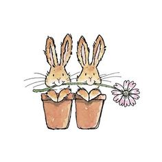 Cute Bunnies in Flower Pots illustration