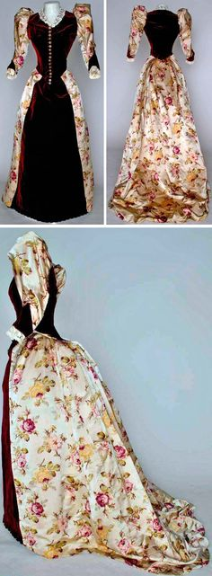 Reception gown, A. Felix, Brevete, Paris, ca. 1894. Two pieces. Cranberry velvet and watered rose print on ivory satin, bodice with waistpoints front and back, and Brussels lace collar and cuffs. Augusta Auctions
