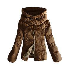 Moncler Winter Jackets Women Pure Color Khaki Double Collar   MOCL323  -   148.47   Moncler 1862f8df525a