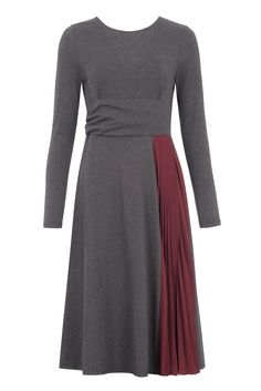 Refresh your Autumn Winter wardrobe with this playful jersey skater dress, featuring a wrapped waist design, scoop back and contrasting pleated chiffon side skirt panel. http://www.paisie.com/collections/dresses/products/jersey-skater-dress-with-pleated-side-skirt-panel-in-grey-and-burgundy