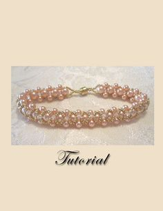 THIS IS A PATTERN/TUTORIAL ONLY. No beads and no finished product are included in this sale. (Finished item may be for sale in my Finished Jewelry section.)    This lovely bracelet was designed with Peach colored Pearls of two different sizes. The stitch is a right angle weave. It is embellished with tiny #15 gold beads and 3mm clear Swarovski crystals. It has a gold magnetic clasp, giving it easy on easy off capability.    This tutorial includes detailed step by step instructions with…