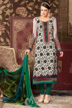 Off white Crepe Printed Churidar Salwar Suit For more information :- Call us @+919377222211 (Whatsapp Available)