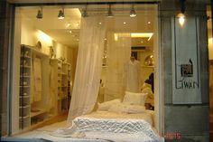 Window display at Liwan Paris - Quilts, Sheets and Curtains Paris Quilt, Showcase Design, Windows, Curtains, Display, Quilts, Bedroom, Furniture, Home Decor