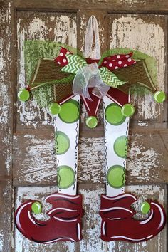 Christmas Door Hanger Elf Legs Christmas by SouthernStyleGifts. Love this for my door too. Hard to choose!