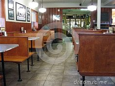 Interior of a 1940s diner, ready for the supper crowd.