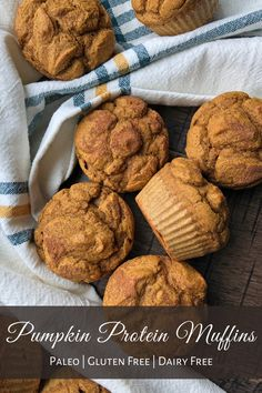 These soft, Paleo Pumpkin Protein Muffins are made with cassava flour and plant based protein powder. This recipe is easy to make, nut free, gluten free, dairy free, and low in sugar. These healthy muffins are perfect for breakfast or a snack! #pumpkinmuffins #glutenfree #paleo High Protein Muffins, Pumpkin Protein Muffins, Healthy Muffins, Plant Based Protein Powder, Vegan Protein Powder, Protein Powder Recipes, Gluten Free Pumpkin, Pumpkin Recipes, Nut Free