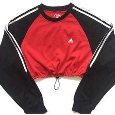 Reworked Adidas Stripe Block Crop Sweatshirt