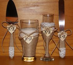 Rustic Wedding Champagne Flute and Beer by CarolesWeddingWhimsy, This set of 4 Rustic Wedding Champagne Flute and Beer Glass with a Matching Rustic Wedding Cake Serving Set  is made of jute, twine and crochet lace.  It is perfect for your Rustic Wedding, Rustic Chic Wedding and or Country Wedding.  You can find them at https://www.etsy.com/listing/269515672/rustic-wedding-champagne-flute-and-beer