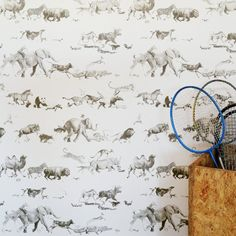 Animal Wallpaper 51 animals running together from all walks of life, from the Pacific giant octopus to the farmyard hen.  Hand-drawn in pencil over a twelve month period (an average of one week per animal!).  Traditionally printed using the gravure method.  Beware the Moon Wallpaper - Animals by Beware the Moon | JUST KIDS WALLPAPER™