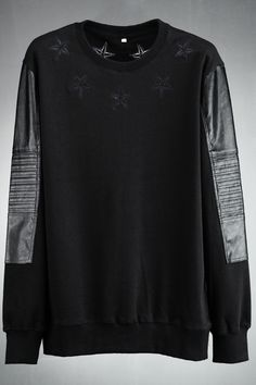 """stilinovic: """"  Leather Panel Star Embroidered Sweatshirt - order yours at Vicemode and use code """"stilinovic"""" for 20% discount!"""""""