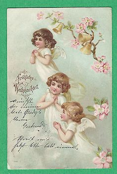 1900 Vtg PC Sweet ANGELS in the CLOUDS FLOWERS & BELLS on a BRANCH