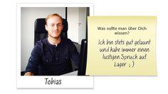 Tobias ist 26 Jahre alt und bringt daher schon Lebens- und Berufserfahrung mit sich. Nach einem anfänglichen Studium im Bereich Business Studies an der FH Aachen konnte Tobias in den vergangenen Jahren bereits einige Erfahrungen im Vertrieb sammeln. Um seine Berufung offiziell zu machen, hat sich Tobias nun zu einer Ausbildung als IT-Systemkaufmann entschlossen.