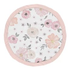 Sweet Jojo Designs Blush Pink, Grey and White Shabby Chic Playmat Tummy Time Baby and Infant Play Mat for Watercolor Floral Collection - Rose Flower Baby Comforter, Crib Bedding Sets, Blanc Shabby Chic, Baby Tummy Time, Soft Flooring, Baby Play, Infant Play, Floral Nursery, Floral Bedding
