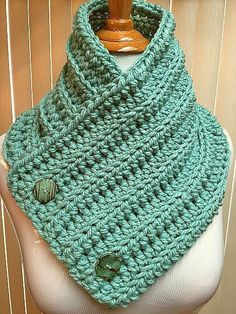 Crochet Neck Warmer, Green Cowl, Green Button Scarf, Green Knit Cowl, Green Crochet Cowl, Button Cowl, Button Neck Warmer, Green Neck Warmer by CozyNCuteCrochet on Etsy