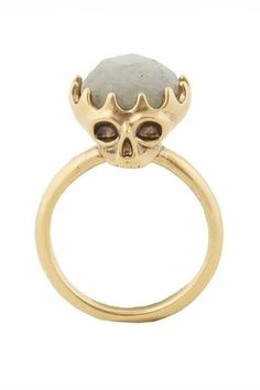 House of Harlow 1960 Stone Top Skull Cocktail Ring in Gold