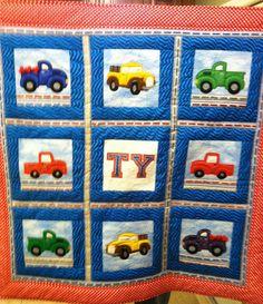 Machine appliqued truck quilt/wallhanging.