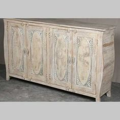Wide mango sideboard with beautiful hand carved antique doors and curved lines. Our range includes quirky coffee tables and cabinets to buy now in UK Antique Doors, Old Doors, Indian Furniture, Sideboard Furniture, Selling Furniture, Curved Lines, Panel Doors, Large White, Mango
