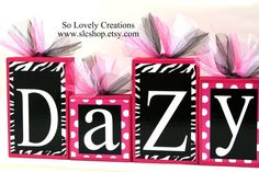 Kenzy Collection -Zebra Print with Hot Pink / white polka dots Personalized Blocks -Baby - Baby Shower