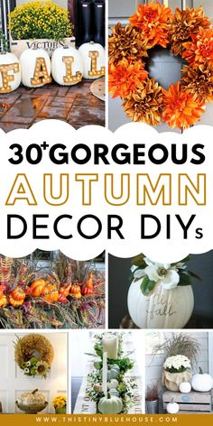 35 Stunning Dollar Store DIY Fall Decor Ideas Looking to decorate your home for fall on a budget? Here are DIY fall decor ideas that you can put together with basic items from the dollar store. Autumn Crafts, Thanksgiving Crafts, Thanksgiving Decorations, Seasonal Decor, Christmas Decor, Thanksgiving Tablescapes, Diy Fall Wreath, Fall Wreaths, Fall Projects