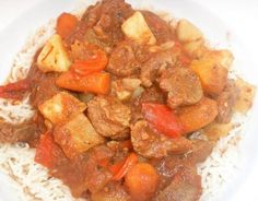 Slow-Cooker Lamb and Root Vegetable Stew. GP: lamb may be too fatty, try another meat. You may want to skip the red pepper or use some puree (add to smooth tomato sauce to replaced the crushed tomatoes, if needed.)