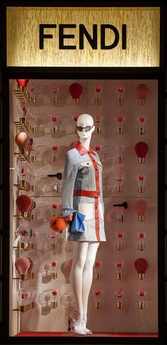 The Fendi ID-ea capsule collection displayed in the new boutique window theme in Milan