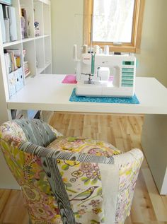 Ikea chair makeover by Jamie and Carmen at City Chic Country Mouse to complete their very cute sewing studio (Minnesota, USA)