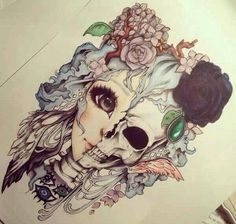 Half girl/ half skeleton. I love this feminine yet gory peice. does anyone know who drew this?