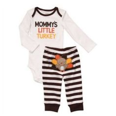 Amazon.com: Carters Infant Boys Mommys Little Turkey Baby Onesie & Pants Thanksgiving Outfit: Clothing
