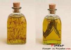 Aceite de romero y aceite de azafrán