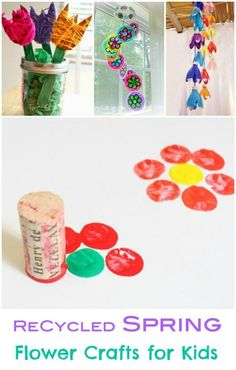 ReCycled Flower craft ideas to make at spring and summer! Great craft projects for kids!