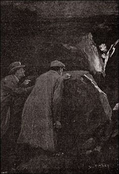 The Hound of the Baskervilles  Chapter IX Second Report of Dr. Watson The Light upon the Moor  SIDNEY PAGET The Strand Magazine, December 1901 'OVER THE ROCKS, IN THE CREVICE OF WHICH THE CANDLE BURNED, THERE WAS THRUST OUT AN EVIL, YELLOW FACE.'