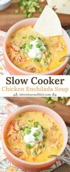 Slow Cooker Chicken Enchilada Soup has all the flavors of creamy chicken enchiladas without any hassle. Made with taco chicken and real cheddar cheese, it's an easy recipe that'll warm you right up. #chickenrecipes #comfortfood #easyrecipe #slowcooker #slowcookerrecipes