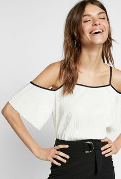 bb93b88425f Solid Cold Shoulder Pleated Tee  39.90 White Women