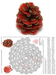 This is decoration sits between layers of a pine cone. Crochet Motif, Crochet Flowers, Crochet Patterns, Crochet Christmas Ornaments, Christmas Crafts, Tatting, Bobbin Lace Patterns, Lacemaking, Lace Heart