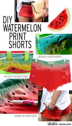 DIY Watermelon Print Shorts by Erica of FashionLushxx