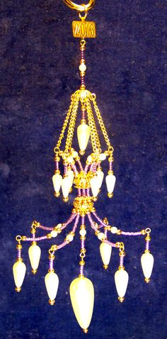 Purple beaded chandelier ornament with pearls