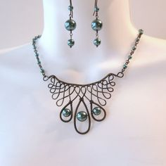 Wire Work Celtic Necklace Set- Teal Glass Pearls - Bronze Wire Wrapped