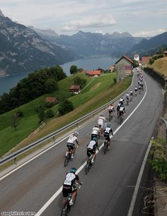 Tour de Suisse: Lake Walensee with Walenstadt in the distance