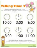 Free telling time worksheets for kindergarten