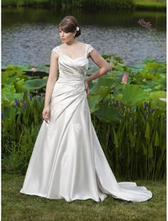 Applique Satin Sweetheart Neckline A-Line Wedding Dress with Cap Sleeves Corset back Bodice - Bridal Gowns - RainingBlossoms