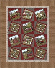 """Show off scenic fabrics and panel squares with this simple quilt pattern! Goes together quickly. Finished Size: 57"""" x 71"""" Skill Level: Advanced Beginner Technique: Pieced Cute Quilts, Boy Quilts, Small Quilts, Panel Quilts, Quilt Blocks, Quilting Projects, Quilting Designs, Quilting Ideas, Churn Dash Quilt"""